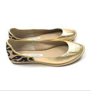 Diane Von Furstenberg Botswana Gold Flats Size 7