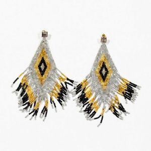 Lauren Milmine Aztec tassel earrings