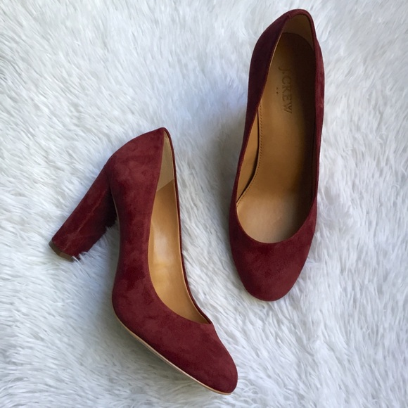 d74d36f8a04b J. Crew Factory Shoes - J. Crew Burgundy Suede Block Heel Pumps Size 8