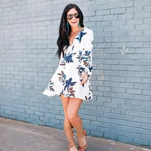 Long sleeve blue and white floral swing dress