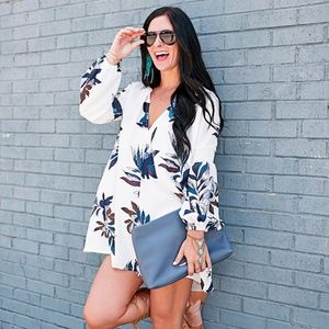 Shein Dresses - Long sleeve blue and white floral swing dress