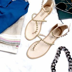 Zara Nude and Gold T-Strap Sandals