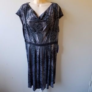 NWT Women's Gray Slate Blue Drape Neck Dress