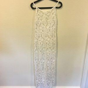 White lace maxi dress overlay