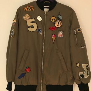 Military Green Bomber Jacket with pins and patches