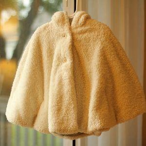 NEXT DIRECT 5-6 Ivory Fleece Hooded Cape Jacket