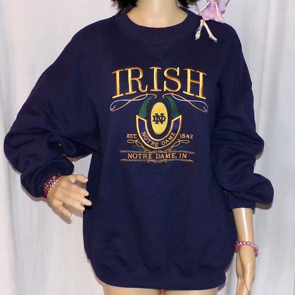 57 Off Midwest Embroidery Tops Notre Dame University Sweat Shirt