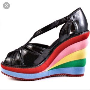 Modcloth Miss L Fire Rainbow wedges. Size 41.