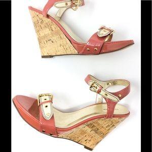 Twenty-one Patent Leather Cork Wedge Sandal