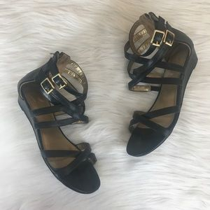 Report black wedge sandals