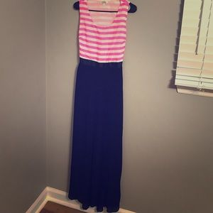 Black and Pink/ white striped maxi dress