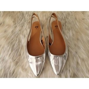 H&M silver metallic slingback pointed flats