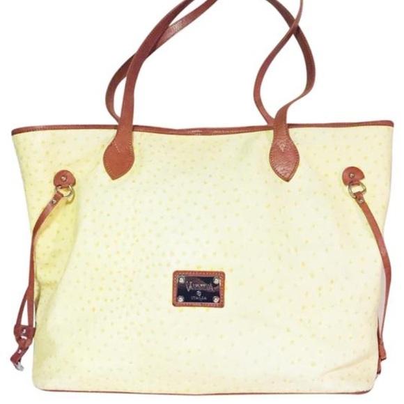 e00fdd15fa49 Valentina yellow ostrich leather large tote bag
