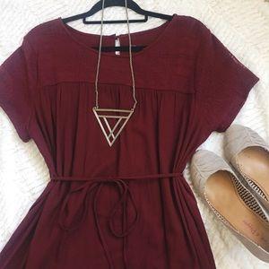 Dark Red Soft Shift Dress w/ Tie