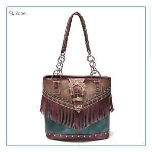 Handbags - NEW-Western Buckle Fringe Tote