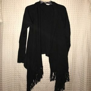 Black, fringe cardigan.