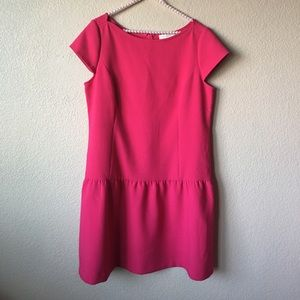 LOFT Pink Cap Sleeve Drop Waist Dress