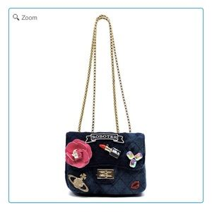 Handbags - NEW-Quilted Denim Embellished Mini Satchel