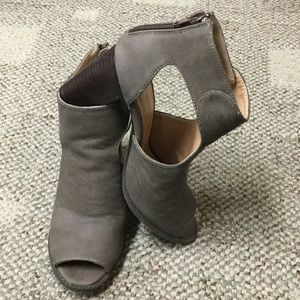 Taupe peep toe booties, worn once.