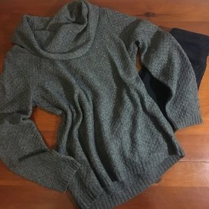 Gray Wool Cowl Neck Sweater