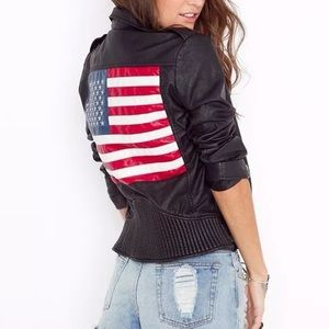 UNIF american flag leather jacket
