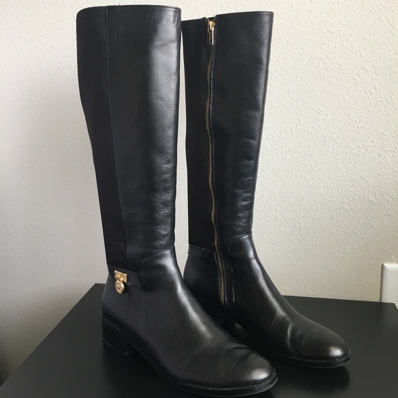 a06269d783305 Michael Kors Hamilton Black Gold Lock Knee Boots. M 59bb2d24eaf03051b3005ff8