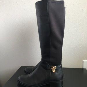 d896d26dafd37 Michael Kors Shoes - Michael Kors Hamilton Black Gold Lock Knee Boots