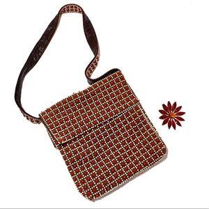 Vintage 60s Mod Beaded Brown Purse Handbag