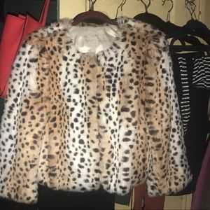 Ann Taylor Loft faux fur 3/4 sleeve Jacket