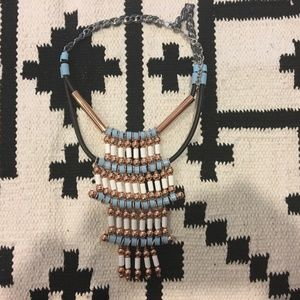 Beaded blue and white statement necklace