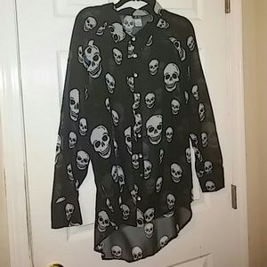 Dots sheer skull blouse