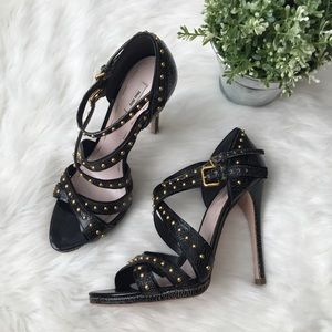 Miu Miu Crackled Leather Strappy Studded Heels
