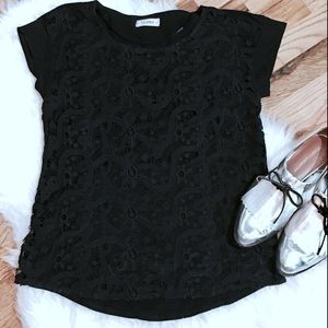 Pull&Bear black lace overlay tee
