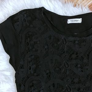 Pull&Bear black lace overlay tshirt