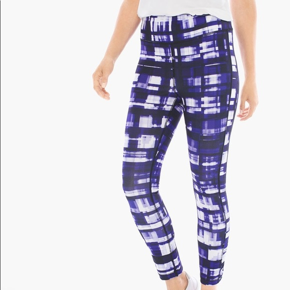cf0feda67543aa Chico's Pants | Nwt Chicos Ruched Detail Purple White Leggings ...