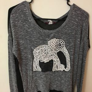 Tops - Embroidered gray and black elephant long sleeve T