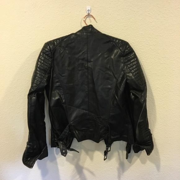 Shein Jackets & Coats - Black moto quilted sleeve zipper jacket