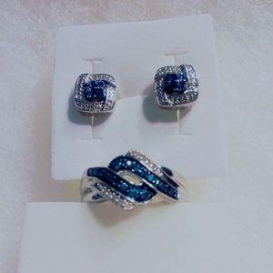 Jewelry - Genuine blue and white diamond set SOLD