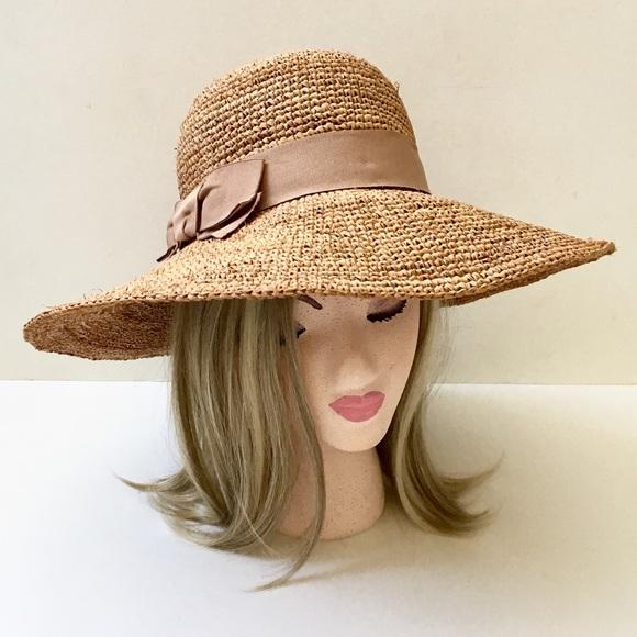 Flora Bella Raffia Straw Sun Hat w Grosgrain Bow❤️ 701b73548b27