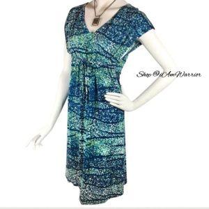 NWT Watercolor print drawstring waist dress