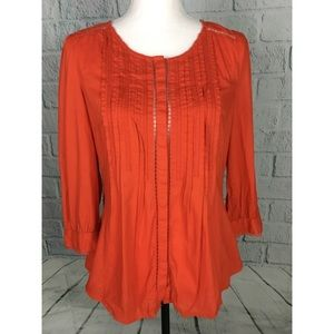 Anthropologie Meadow Rue Orange Peasant Blouse