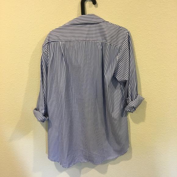 Tops - Button down striped embroidery dip hem shirt