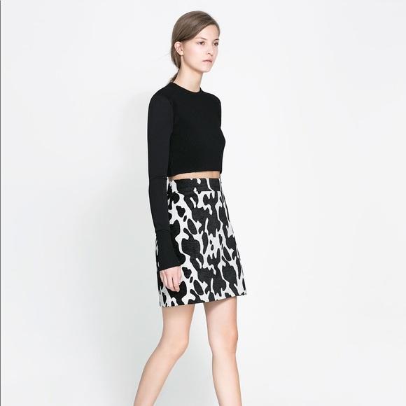 6b0acfe12 Zara Skirts | Woman Black White Cow Mini Skirt Size Med | Poshmark