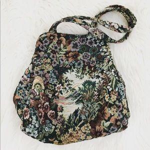 Weekend Sale! Vintage Floral Tapestry Duffel Purse