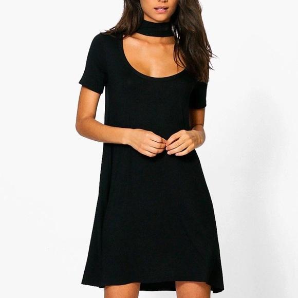 Boohoo Dresses   Skirts - Tall Sinead Low Scoop Neck Choker T-Shirt Dress 8b329a385