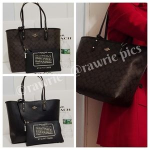 New Coach Signature Reversible large travel tote