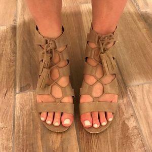 Tan tassel lace-up sandals!
