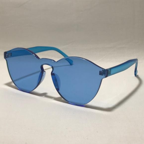 bffac3cd91 Bright Blue Single Piece Lens Acrylic Sunglasses