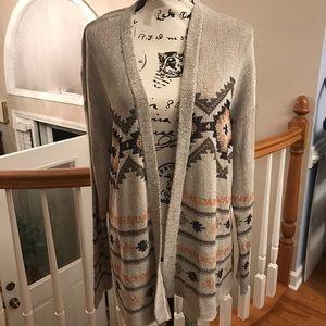 J. Jill Geometric Open Sweater Cardigan size XL