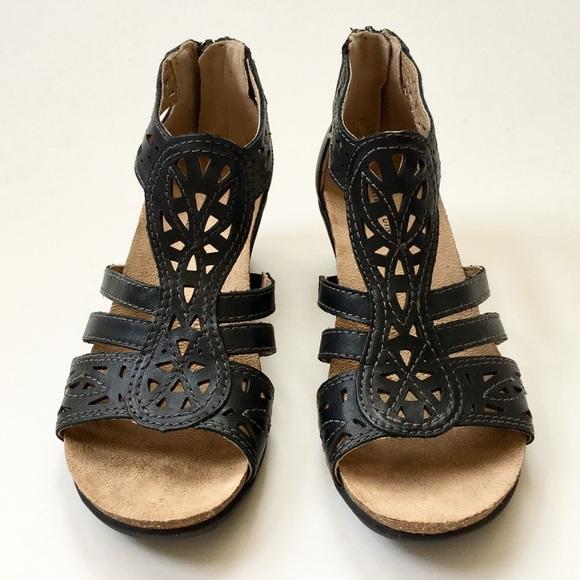 1150b877fca Earth Shoes - Earth Origins Black Leather Kingsley Wedge Sandal
